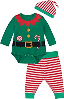Newborn Santa Claus Outfit Set Baby Boy Christmas Elf Striped Pants Set & Hat
