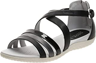 Geox Sand.Vega, Women's Fashion Sandals, Black (Black/Dark Grey), 40 EU