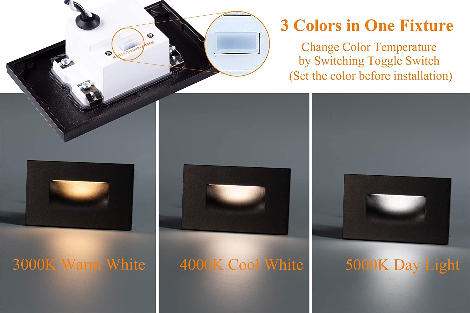 3000K Warm White Oil Rubbed Bronze,Pack of 3 Cloudy Bay 12VAC//DC Low Voltage LED Step Light