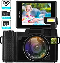 Digital Camera with WiFi 24MP 2.7K HD Video Camcorder 3.0 Inch Flip Screen Vlogging Camera with Flashlight, 16GB SD Card and 2 Batteries