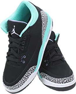 4280f467ce42 Nike Girls Air Jordan 3 Retro (GS) Kids Black Bleached Turquoise Wolf