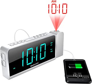 "SHANLONYI Projection Alarm Clock Radio for Bedrooms LED Light Desk Digital Time Protector with Ceiling Large Display 7"", USB Charging for Cell Phone, Battery Back up"