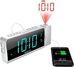 """SHANLONYI Projection Alarm Clock Radio for Bedrooms LED Light Desk Digital Time Protector with Ceiling Large Display 7"""", USB Charging for Cell Phone, Battery Back up"""