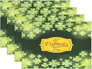 Wamika Spring Happy St Patrick's Day Placemat Set of 4 Table Mat, Shamrock Green Elf Hat Table Mats Placemats Non Slip Stain Heat Resistant 12x18 in for Dining Home Kitchen Decor Indoor