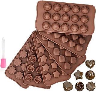 Cozywind Moulle a Chocolat Silicone Bricolage Créatif, 6 Modèles Différents Moule en Silicone pour Bonbons de Noël Gâteau ...