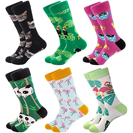 Mens Colorful Fun Dress Socks - Funky Pattern Socks Novelty Smart Design Cotton Casual Calf Socks 6 Pairs