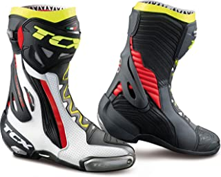 TCX Rt-Race Pro Air Men's Street Motorcycle Boots - White/Red/Yellow Fluo / 42