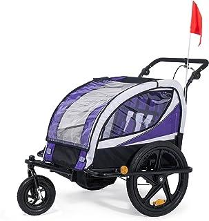 comprar comparacion SAMAX Remolque de Bicicleta para Niños 360° girable Kit de Footing Transportín Silla Cochecito Carro Suspensíon Infantil C...