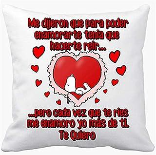 Cojín con Relleno Frase de Amor me enamoro yo más de ti te