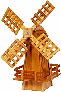 Wooden Windmill Small Amish-made with Varnished Burnt-Grain Finish