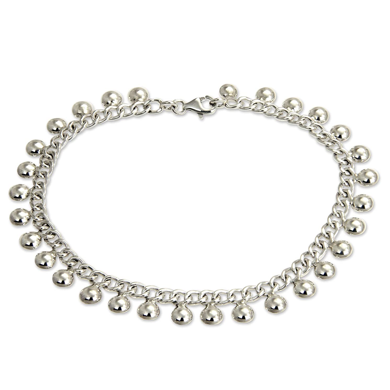 NOVICA .925 Sterling Silver Handmade Chain Charm Anklet 'Palace Charms', 10.5