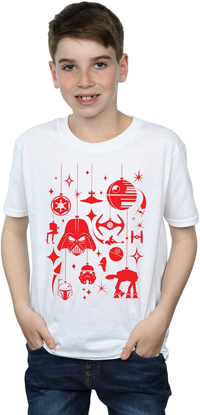 STAR WARS Boys Christmas Decorations T-Shirt 9-11 Years White