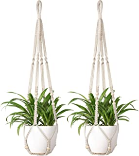 Mkono Macrame Plant Hangers 2Pcs Indoor Hanging Planter Basket Flowe Pot Holder Cotton Rope with Beads No Tassels, 35 Inch