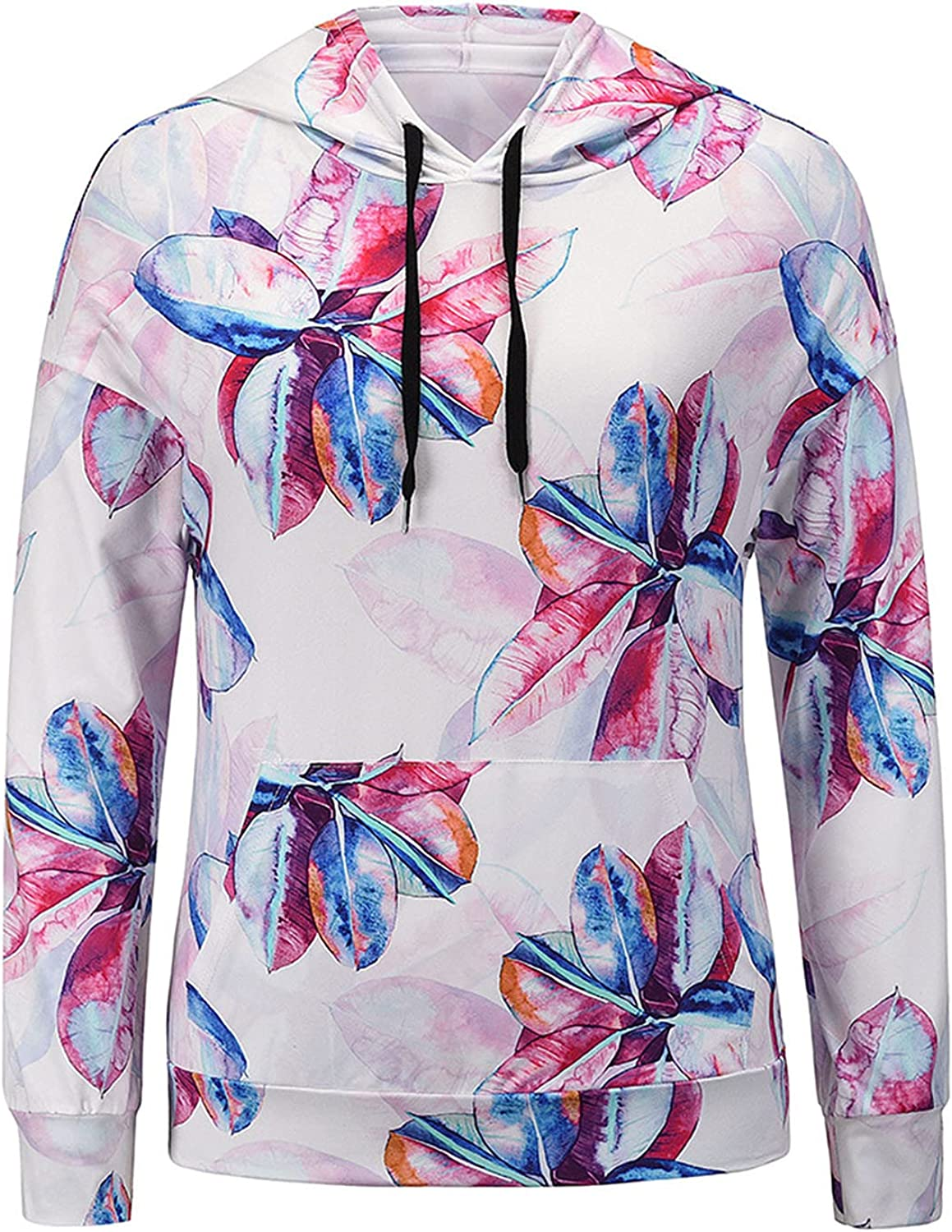 Womens Hoodies Tops Floral Print Long Sleeve Drawstring Sweatshirt Loose Fit Pullover Casual Blouse Soft Comfy Shirts