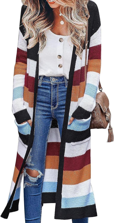 luvamia Women Colorblock Striped Long Cardigans Casual Lightweight Sweater Cardigan Outwear