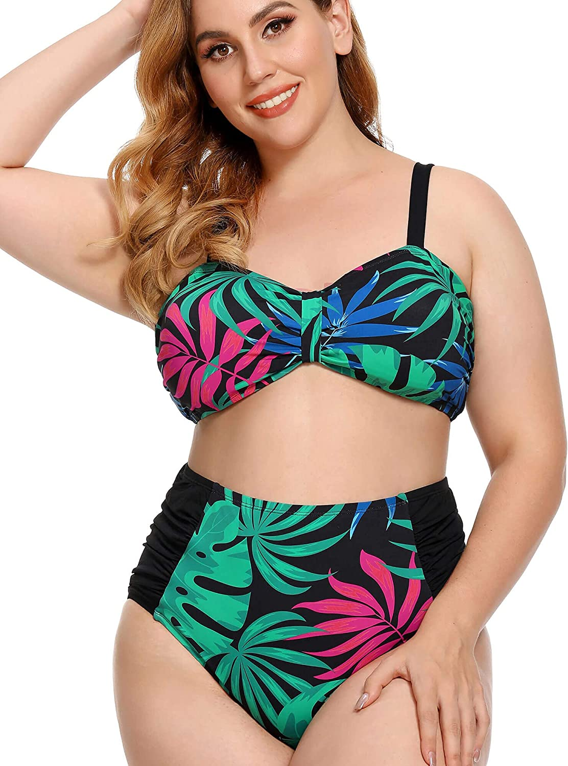AS ROSE RICH Plus Size Swimsuit for Women - 2 Piece Plus Size Bikini and Tankini - Bathing Suits Women High Waisted