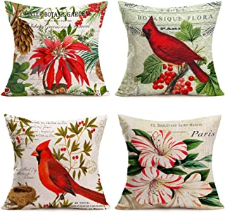 Asminifor 4 Pack Throw Pillow Covers Multicolor Vintage Bird Flower Red Cardinal with Mistletoe Painting Decorative Pillow Covers Cushion Cases Cotton Linen Square Pillowcase 18 inch (Red Bird Flower)