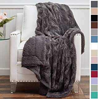 The Connecticut Home Company Luxury Faux Fur with Sherpa Reversible Throw Blanket, Super Soft, Large Wrinkle Resistant Blankets, Warm Hypoallergenic Washable Couch or Bed Throws, 65x50, Gray