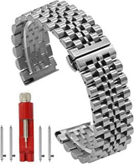 Quick Release Watch Band Silver/Black Polishing Stainless Steel Watch Bracelets Metal Replacement Strap 20mm/22mm