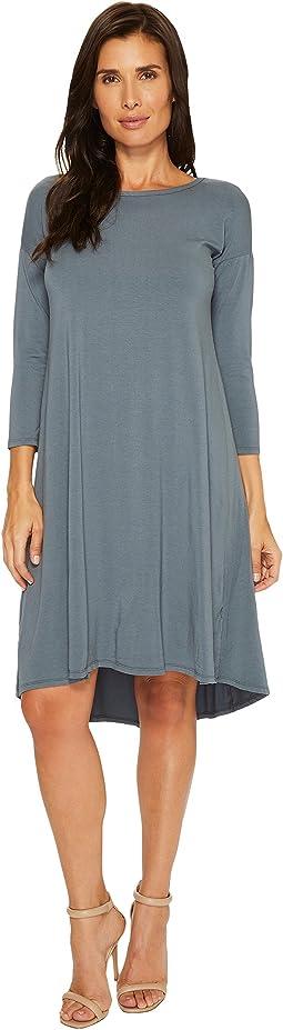 Cotton Modal Spandex Jersey 3/4 Sleeve Lace-Up Back Dress