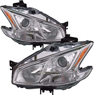 Headlight Replacement For Nissan Maxima Driver Left and Passenger Right Pair Set 2009 2010 2011 2012 2013 2014 Headlamp Assembly