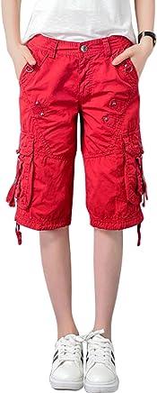 chouyatou Women's Casual Multi-Pockets Sports-Wear Knee Length Cargo Shorts