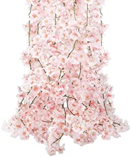CEWOR 4pcs Artificial Cherry Blossom Flower Vines Hanging Silk Flowers Garland for Wedding Party Home Decor (Pink, Pack of 4)