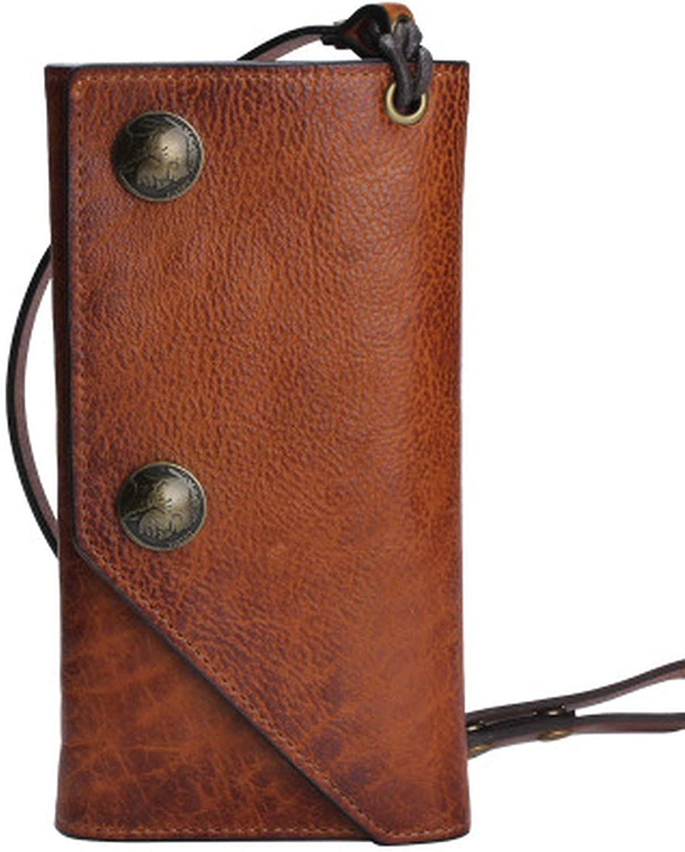Genuine Leather Long Wallet Handmade Retro Multifunctional Men Wallets 100% Cowhide Women Credit Card Purses,Brown
