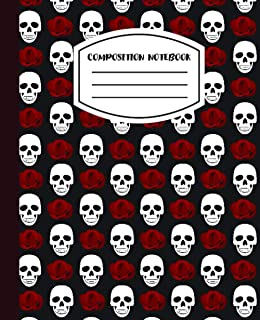 """Composition Notebook: Halloween Sugar Skull Pattern - 7.5"""" X 9.25 - Wide Ruled - 110 Pages"""