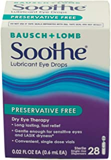 Bausch + Lomb Soothe Lubricant Eye Drops, Night Time, 1/8 oz.