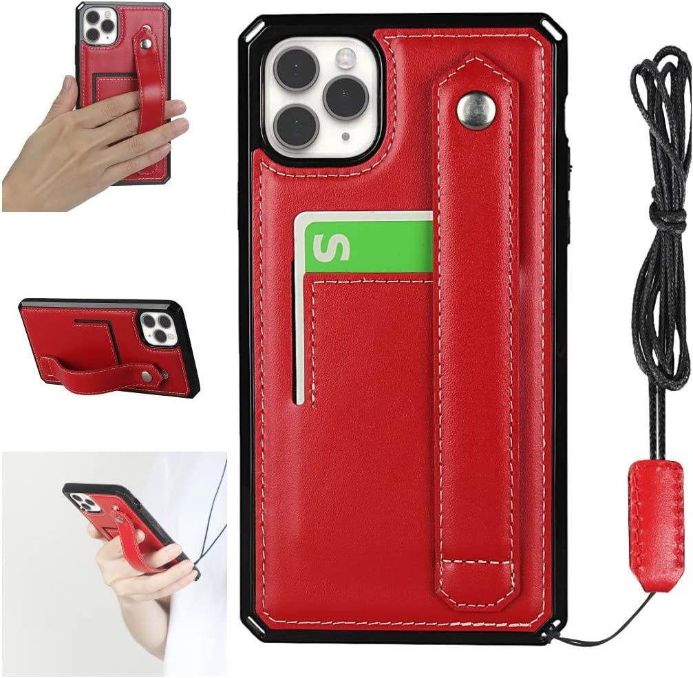 Jaorty iPhone 11 Pro Max Necklace Case Crossbody Lanyard Strap Band Wallet Case Cover with Stand Genuine Leather Card Holder Detachable Lanyard Case for iPhone 11 Pro Max 6.5 Inch,Shockproof Red