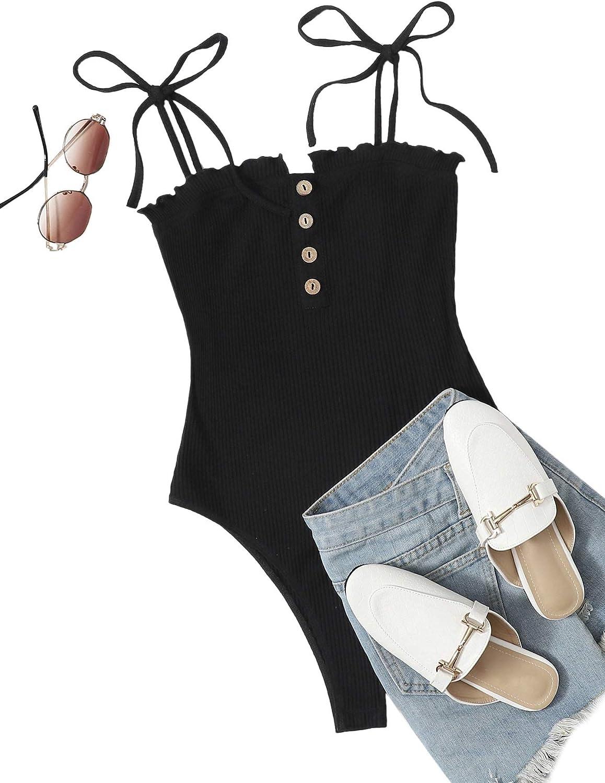 ROMWE Women's Rib Knit Sleeveless Spaghetti Strap Cami Bodysuit Black-1 X-Small