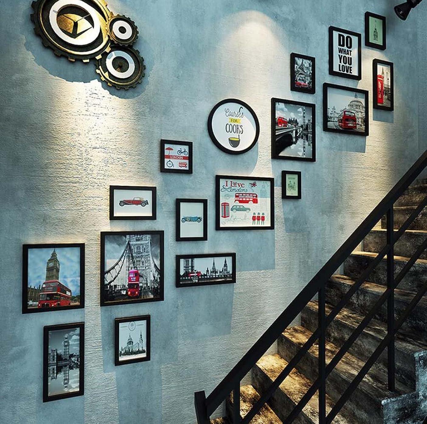 無限技術的なクロールテレビの背景壁掛け絵画の組み合わせ装飾的な絵画、創造的な壁掛け木製フレーム、17額縁階段壁の装飾の組み合わせ(長方形+ラウンド) (色 : ブラック, サイズ さいず : C)