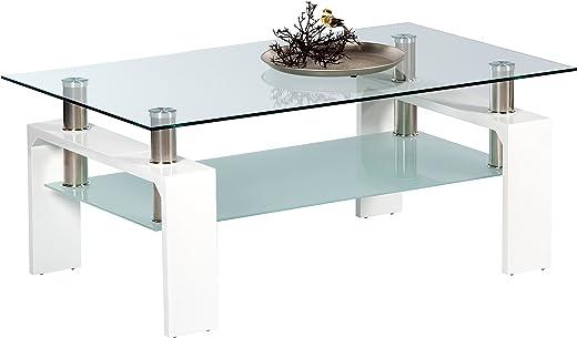 Stella Trading MANGO II Couchtisch Glas in Hochglanz weiß – geräumiger Glastisch mit Glasblage für Ihren Wohnbereich – 100 x 46 x 60 cm (B/H/T)