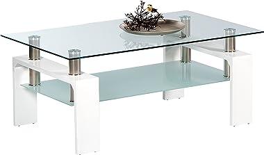 Stella Trading MANGO II Couchtisch Glas in Hochglanz weiß - geräumiger Glastisch mit Glasblage für Ihren Wohnbereich - 100 x