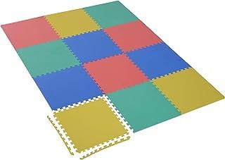 HOMCOM Tapis de Sol en Mousse Tapis Puzzle interconnectables dim. 63L x 63l x 1H cm 12 pièces Grande Surface 4,32 m² Multi...