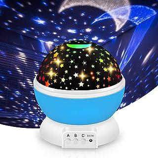 iThrough Veilleuse Enfant,LED Lampe Projecteur Ciel Etoile 360°Rotation,8 Modes d'éclairage 2 Modes de Charge, Chambre Ann...