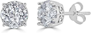 Fifth and Fine 1/4Ct Women Round Diamond Stud Earrings Set In Sterling Silver