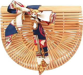 Women's Tote Bamboo Bag from Covelin, Handmade Top Handle Handbag for Summer Sea