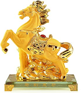 Wenmily Chinese Zodiac Horse Golden Resin Collectible Figurines Table Decor Statue