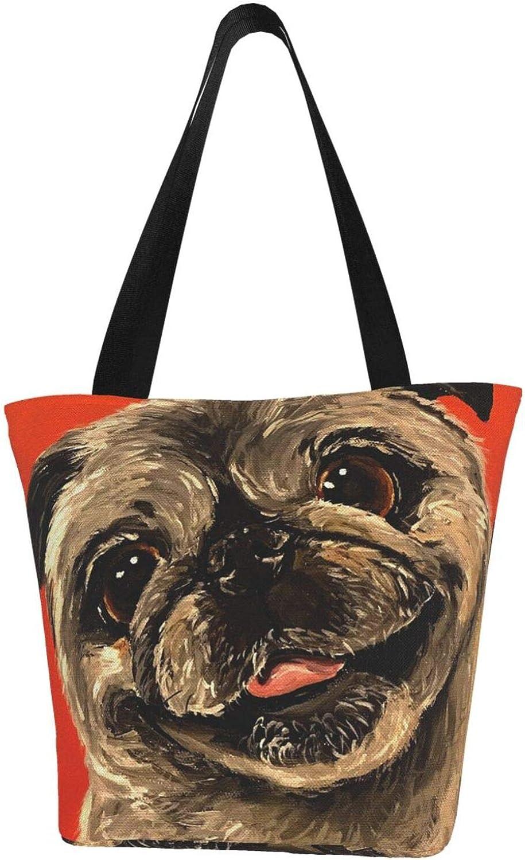 Happy Cute Pug Dog Gift Pet Animal Orange Themed Printed Women Canvas Handbag Zipper Shoulder Bag Work Booksbag Tote Purse Leisure Hobo Bag For Shopping