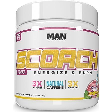 Man Sports Scorch - Fat Burning Powder for Men and Women - Hunger Suppressant - Weight Loss Supplement - Pink Lemonade - 375 Grams, 75 Servings