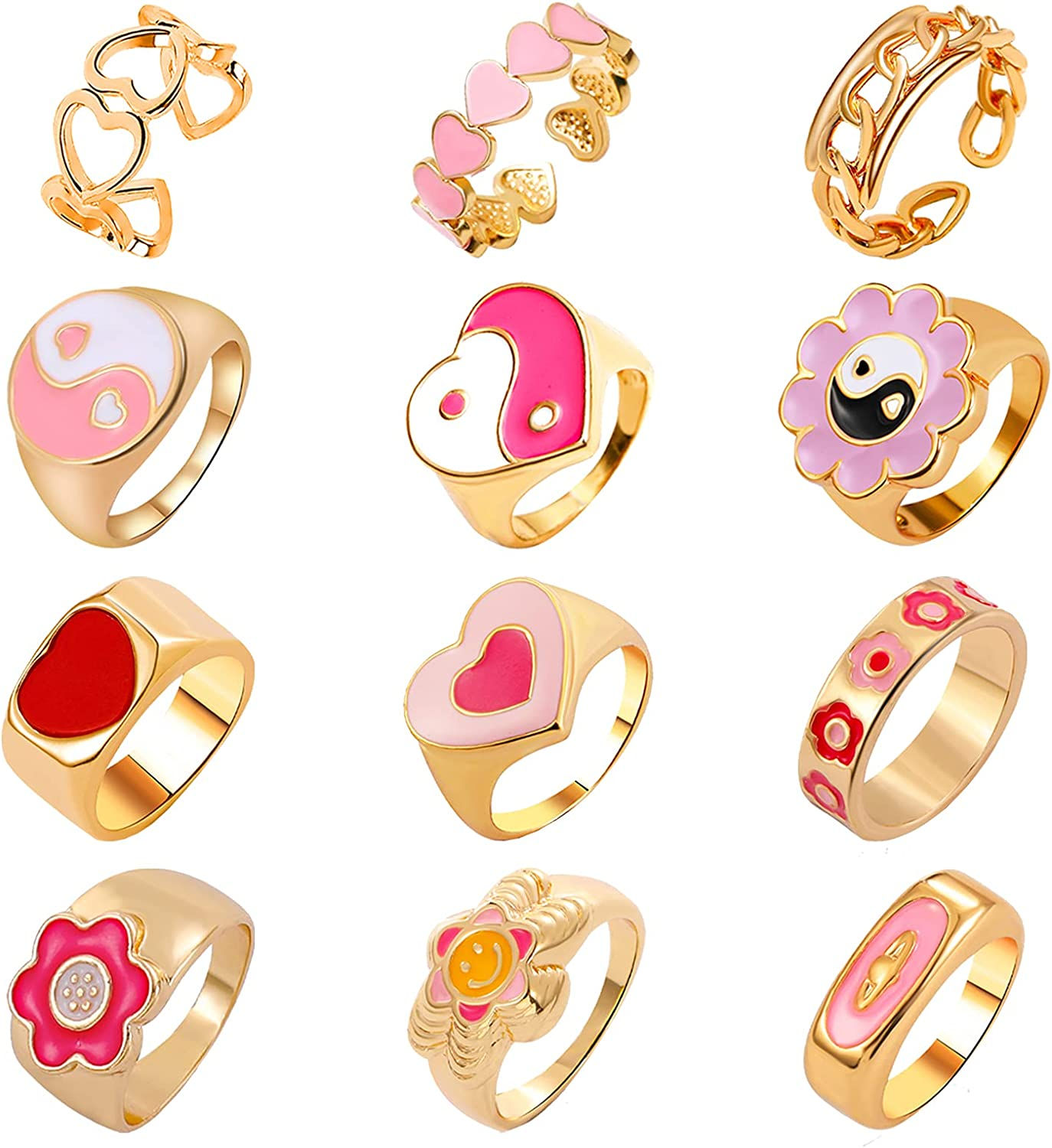 NEWITIN 12 1 online shop year warranty Pieces Y2K Colorful Si Chunky Trendy Gold Rings