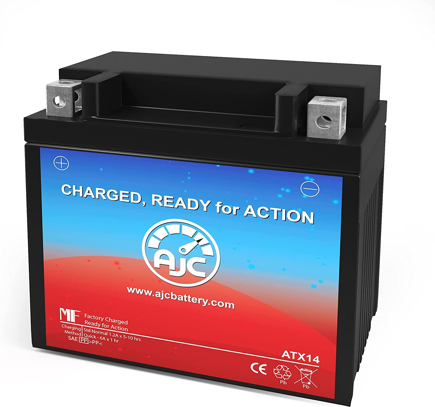 AJC Battery Compatible with GS Battery GTX14-BS Powersports Battery