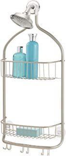 InterDesign Forma Shower Caddy, Metal Shower Organiser with Multiple Storage Areas, Shower Shelves, Hooks and Towel Bar, S...