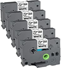 5Pack P-Touch Label Tape for Home Or Office 12mm (0.47 Inch) x 8m (26.2Ft) TZ 231 TZe231 Black on White, 5Pack Compatible Laminated Tape for Label Maker Brother PT-D200 PTD210 PTD600 PT-H100 PTH110
