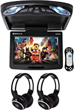 "Rockville RVD12HD-BK 12"" Black Flip Down Car Monitor DVD/USB Player+Headphones"