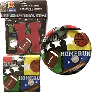 Sports Party Supplies for Boys - Soccer, Basketball, Football, Baseball Birthday Banner, 00Paper Plates and Napkins for 36 Guests