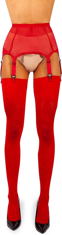 sofsy Sheer Thigh High Stockings for Womens Garter Belt//Suspender Belt 15 Den Garter Belt Not Included Made in Italy