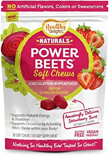 Healthy Delights Power Beets, Super Concentrated Beet Root Soft Chews, Circulation Superfood, Boosts Naturally Energy, Del...